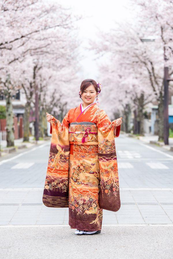 成人式前撮り 桜ロケ撮影@武田神社
